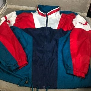 Vintage multicolor nylon windbreaker zip up sz XL